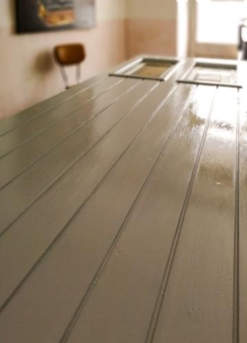 wooden door painted light grey