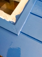 wooden door painted blue