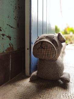 Dog shaped door stopper