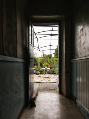 back door opening into a small garden