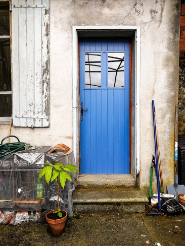 Wooden door painted blue