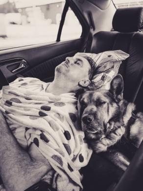 Sleepy hubby and dog