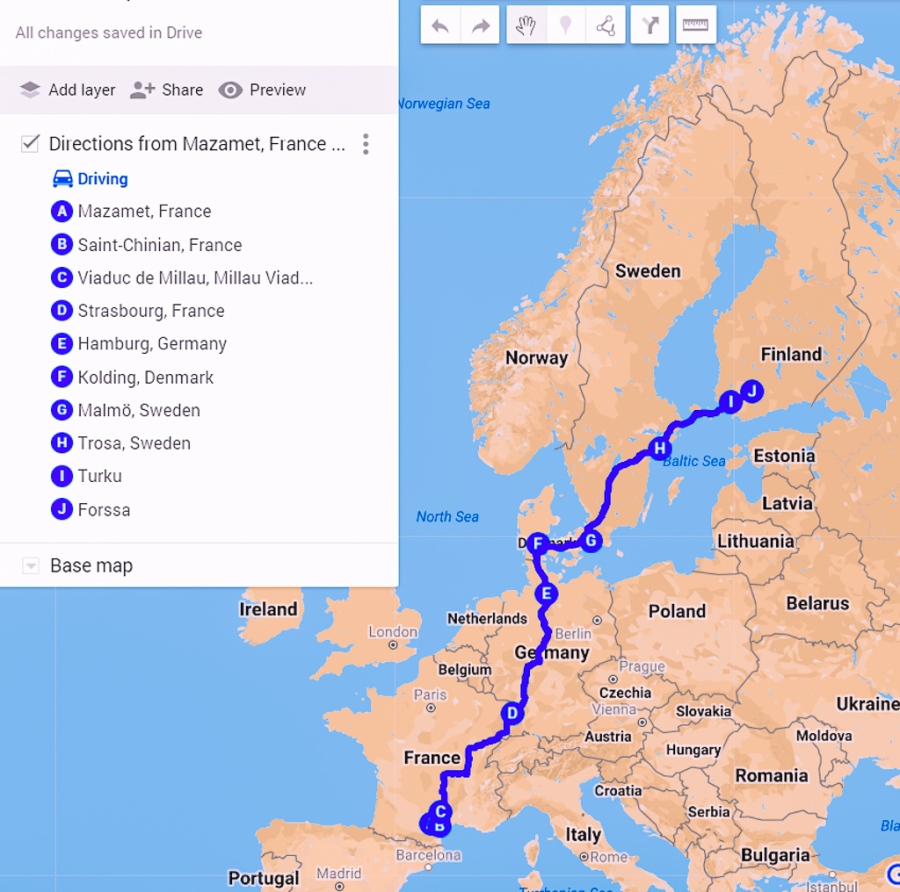 route from Mazamet, France to Forssa, Finland