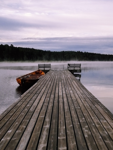 lake and a pier in Finland
