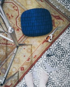 """chair being re-upholstered with a Finlayson fabric """"coronna"""""""