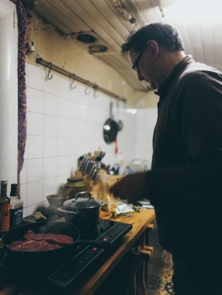 steak night in our dinky kitchen