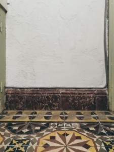 pale mint + patterned tile
