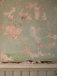 damaged paint and crumbling plaster