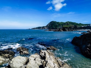 Rock pools and blue seas in sunny Ilfracombe, North Devon