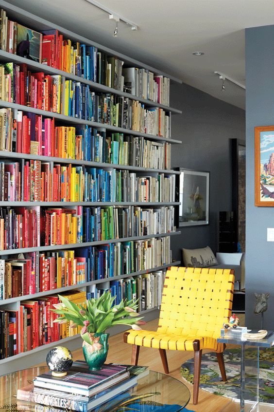 books organised by colour