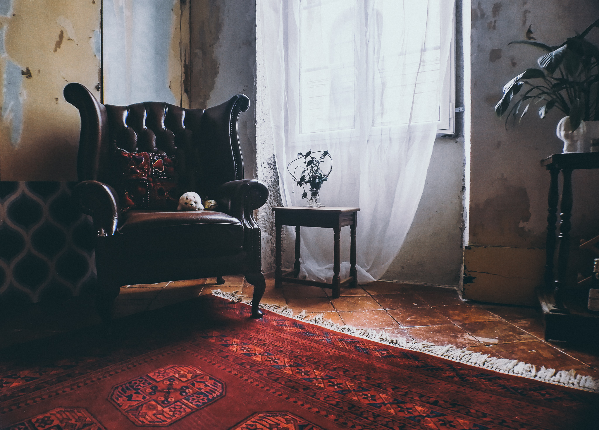 Leather upholstered Chesterfield chair