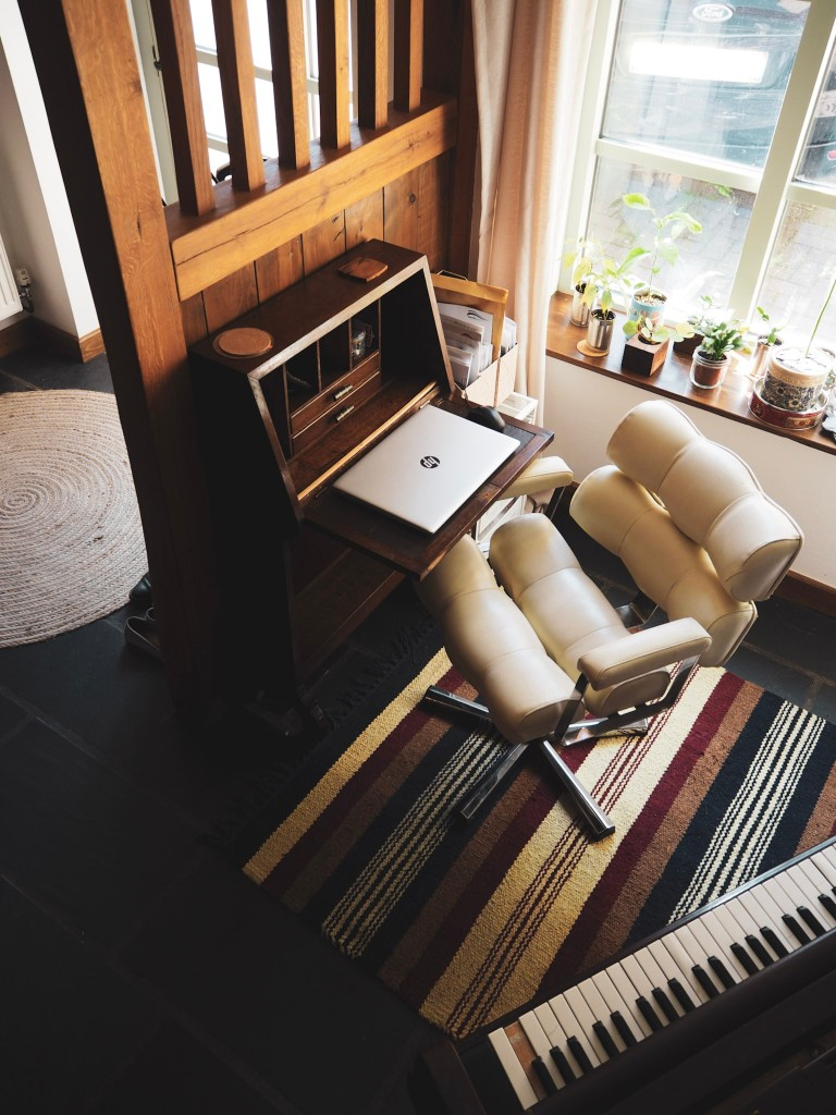 James' little home office by the piano