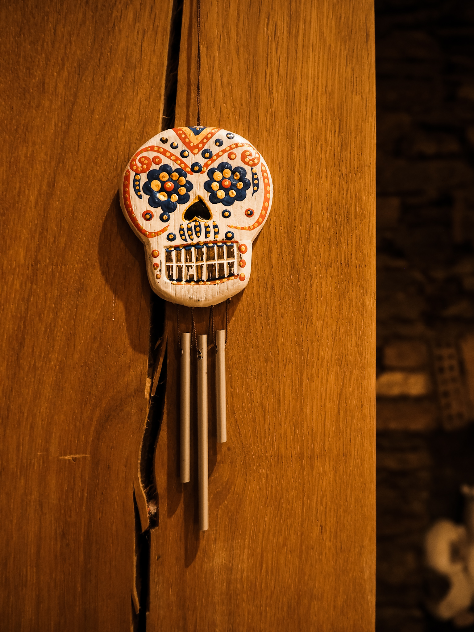 day of the dead sugar skull wind chime